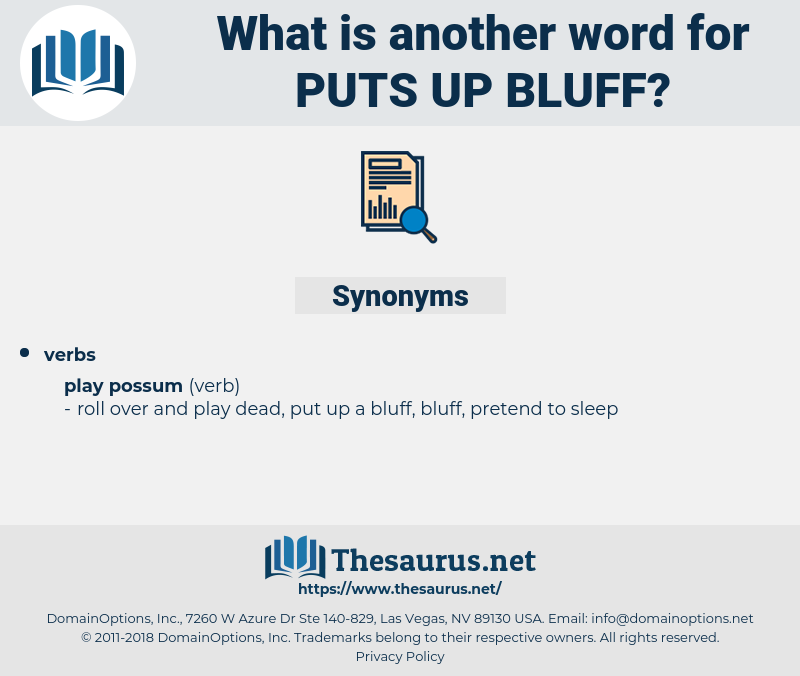 puts up bluff, synonym puts up bluff, another word for puts up bluff, words like puts up bluff, thesaurus puts up bluff