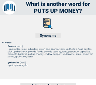 puts up money, synonym puts up money, another word for puts up money, words like puts up money, thesaurus puts up money