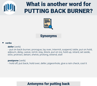 putting back burner, synonym putting back burner, another word for putting back burner, words like putting back burner, thesaurus putting back burner