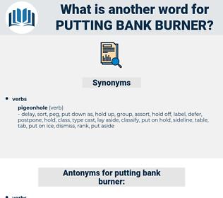 putting bank burner, synonym putting bank burner, another word for putting bank burner, words like putting bank burner, thesaurus putting bank burner