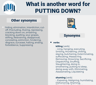 putting down, synonym putting down, another word for putting down, words like putting down, thesaurus putting down