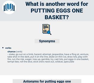 putting eggs one basket, synonym putting eggs one basket, another word for putting eggs one basket, words like putting eggs one basket, thesaurus putting eggs one basket