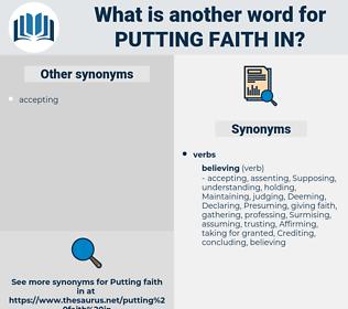 putting faith in, synonym putting faith in, another word for putting faith in, words like putting faith in, thesaurus putting faith in