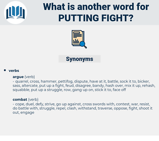 putting fight, synonym putting fight, another word for putting fight, words like putting fight, thesaurus putting fight
