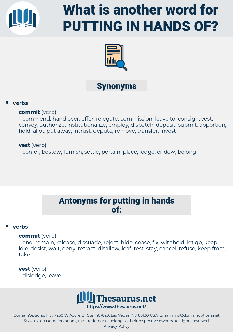 putting in hands of, synonym putting in hands of, another word for putting in hands of, words like putting in hands of, thesaurus putting in hands of