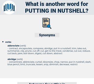 putting in nutshell, synonym putting in nutshell, another word for putting in nutshell, words like putting in nutshell, thesaurus putting in nutshell