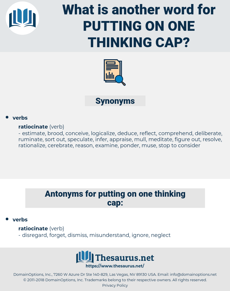 putting on one thinking cap, synonym putting on one thinking cap, another word for putting on one thinking cap, words like putting on one thinking cap, thesaurus putting on one thinking cap
