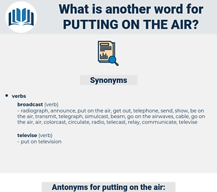 putting on the air, synonym putting on the air, another word for putting on the air, words like putting on the air, thesaurus putting on the air