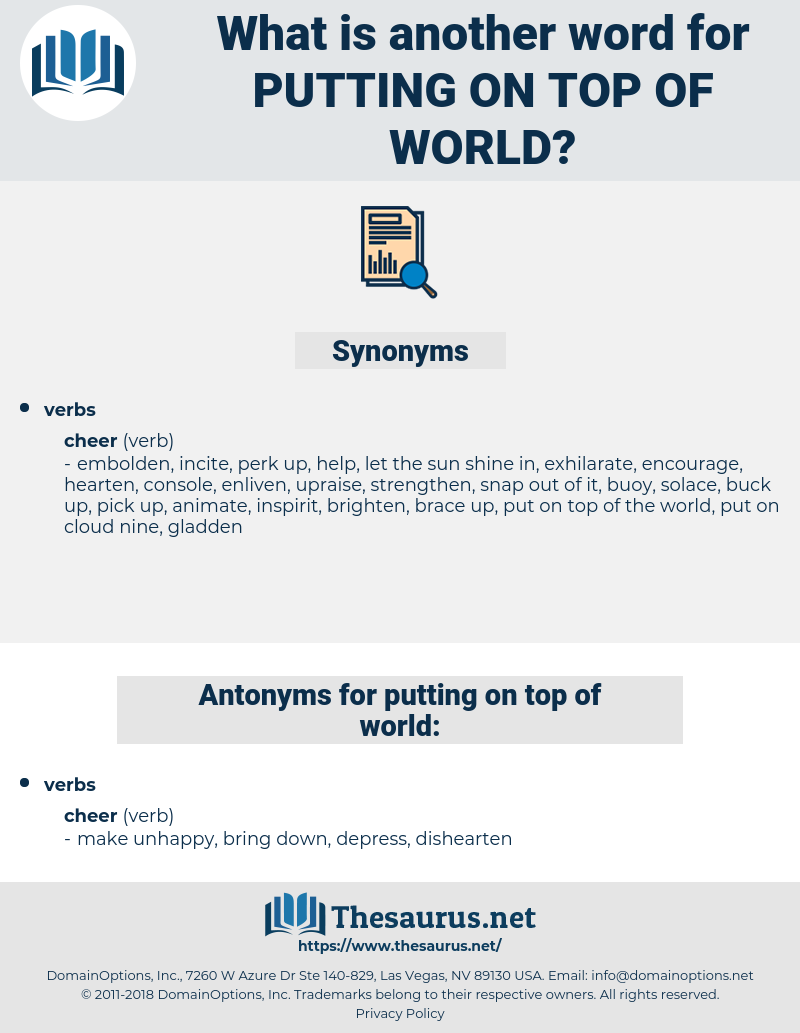 putting on top of world, synonym putting on top of world, another word for putting on top of world, words like putting on top of world, thesaurus putting on top of world