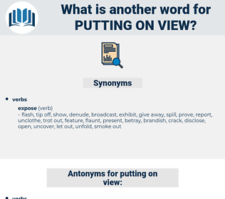 putting on view, synonym putting on view, another word for putting on view, words like putting on view, thesaurus putting on view
