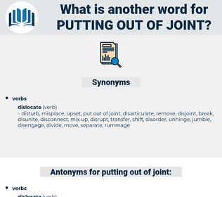putting out of joint, synonym putting out of joint, another word for putting out of joint, words like putting out of joint, thesaurus putting out of joint