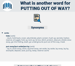 putting out of way, synonym putting out of way, another word for putting out of way, words like putting out of way, thesaurus putting out of way