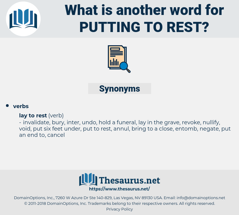 putting to rest, synonym putting to rest, another word for putting to rest, words like putting to rest, thesaurus putting to rest