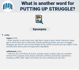 putting up struggle, synonym putting up struggle, another word for putting up struggle, words like putting up struggle, thesaurus putting up struggle