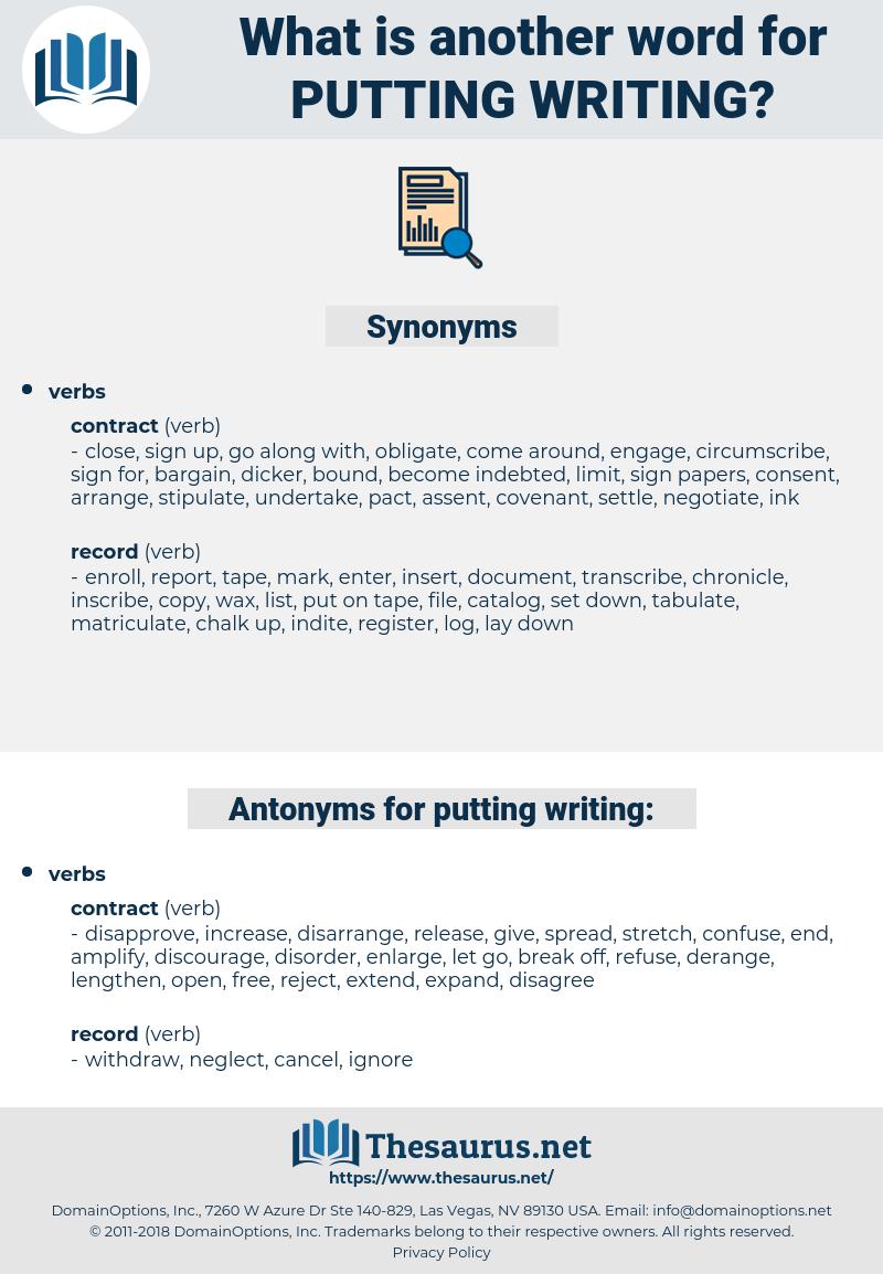 putting writing, synonym putting writing, another word for putting writing, words like putting writing, thesaurus putting writing