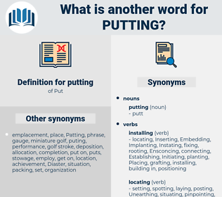 putting, synonym putting, another word for putting, words like putting, thesaurus putting