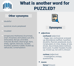 puzzled, synonym puzzled, another word for puzzled, words like puzzled, thesaurus puzzled