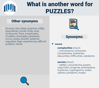 puzzles, synonym puzzles, another word for puzzles, words like puzzles, thesaurus puzzles