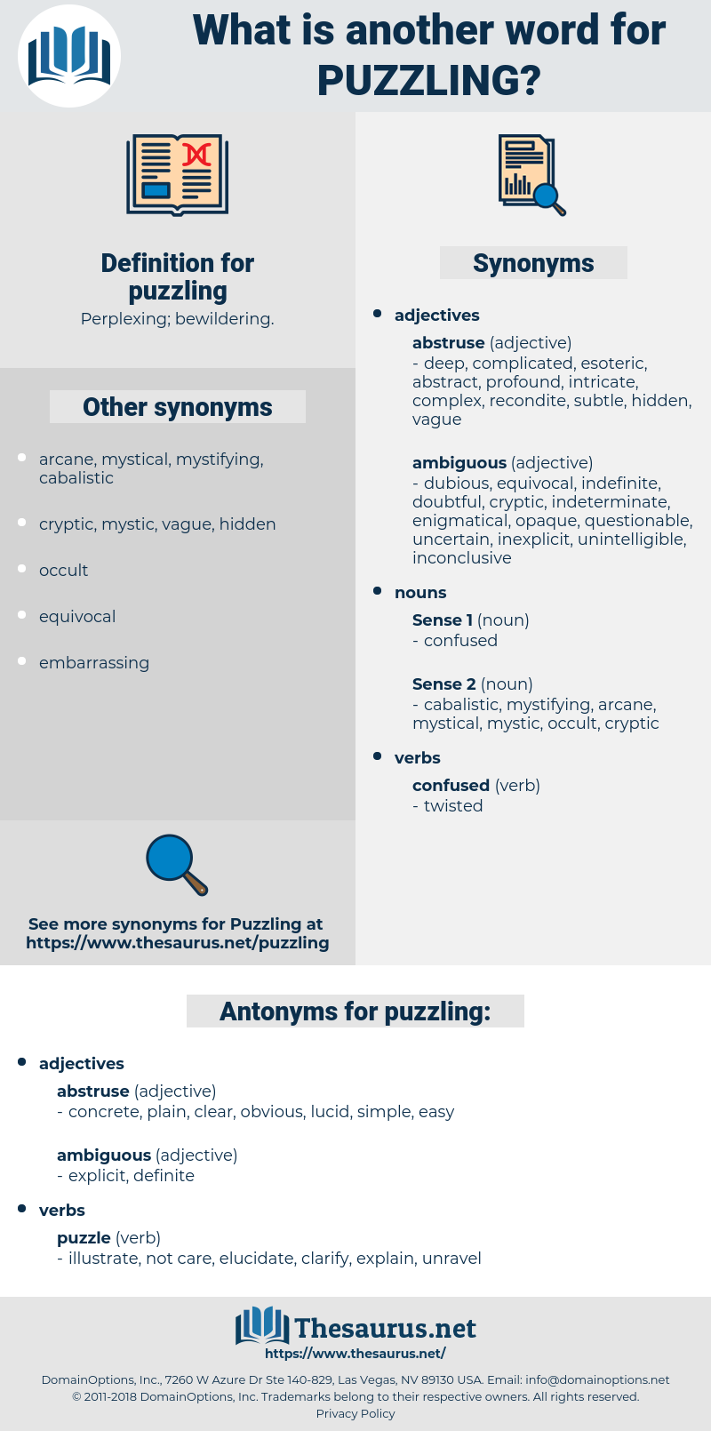 puzzling, synonym puzzling, another word for puzzling, words like puzzling, thesaurus puzzling