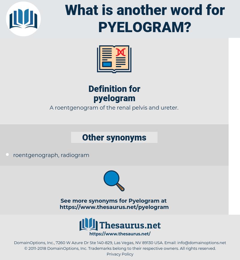 pyelogram, synonym pyelogram, another word for pyelogram, words like pyelogram, thesaurus pyelogram