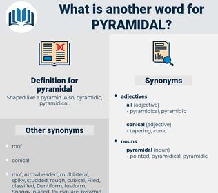 pyramidal, synonym pyramidal, another word for pyramidal, words like pyramidal, thesaurus pyramidal