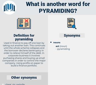 pyramiding, synonym pyramiding, another word for pyramiding, words like pyramiding, thesaurus pyramiding