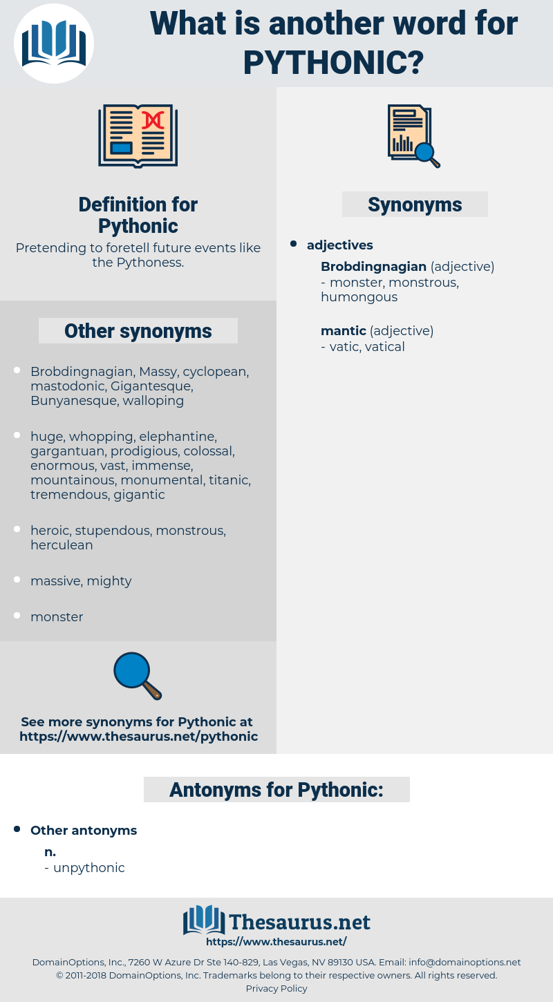 Pythonic, synonym Pythonic, another word for Pythonic, words like Pythonic, thesaurus Pythonic