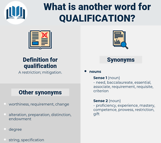 qualification, synonym qualification, another word for qualification, words like qualification, thesaurus qualification