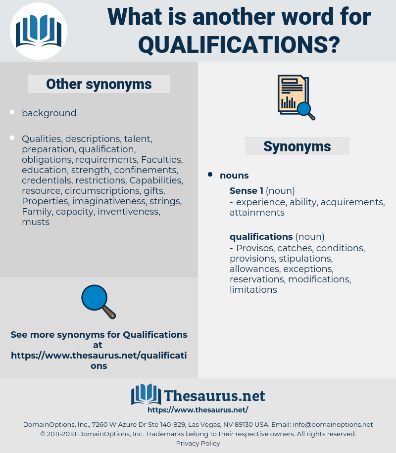 Synonyms for QUALIFICATIONS - Thesaurus net