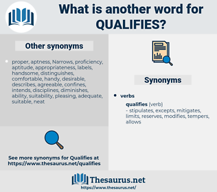 qualifies, synonym qualifies, another word for qualifies, words like qualifies, thesaurus qualifies