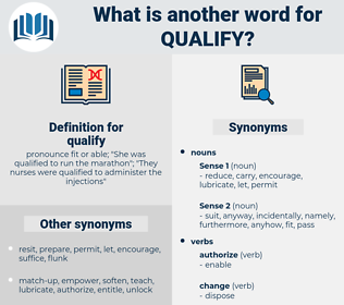 qualify, synonym qualify, another word for qualify, words like qualify, thesaurus qualify