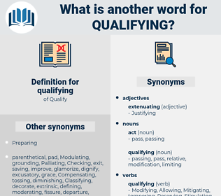 qualifying, synonym qualifying, another word for qualifying, words like qualifying, thesaurus qualifying