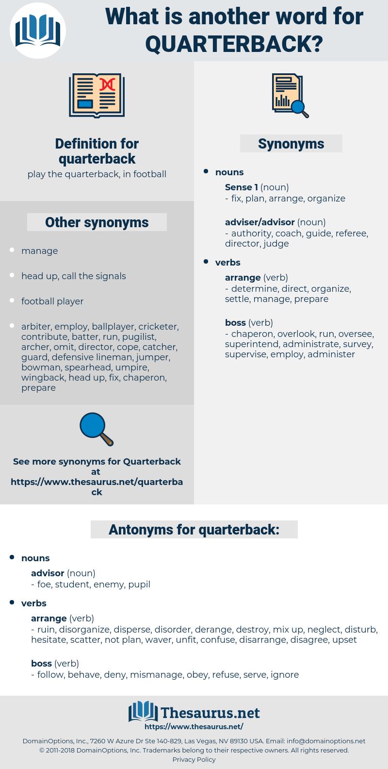 quarterback, synonym quarterback, another word for quarterback, words like quarterback, thesaurus quarterback
