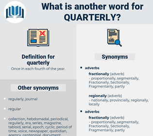quarterly, synonym quarterly, another word for quarterly, words like quarterly, thesaurus quarterly