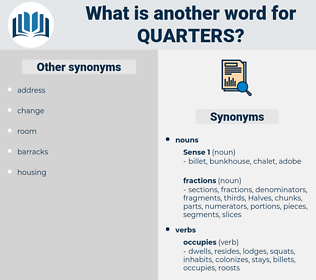 quarters, synonym quarters, another word for quarters, words like quarters, thesaurus quarters
