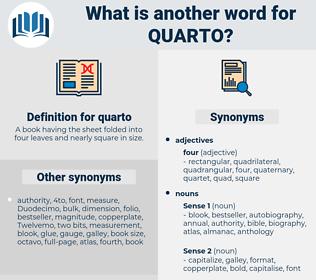 quarto, synonym quarto, another word for quarto, words like quarto, thesaurus quarto