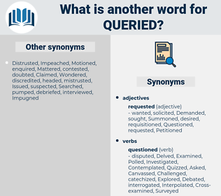 Queried, synonym Queried, another word for Queried, words like Queried, thesaurus Queried