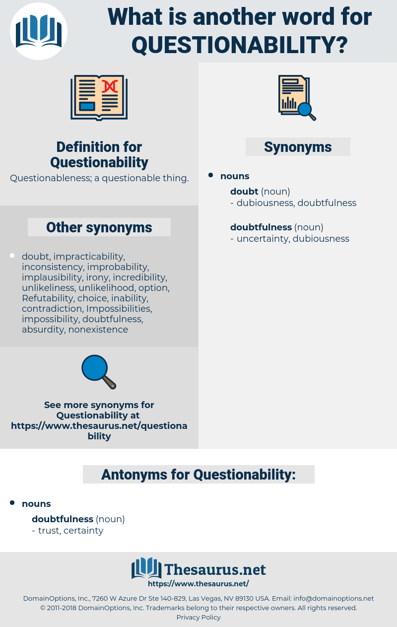 Questionability, synonym Questionability, another word for Questionability, words like Questionability, thesaurus Questionability