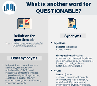 questionable, synonym questionable, another word for questionable, words like questionable, thesaurus questionable