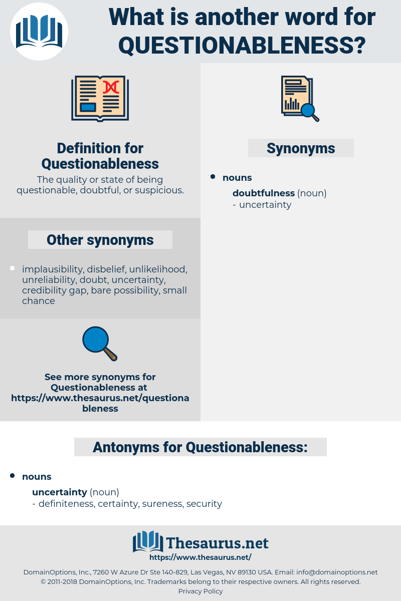 Questionableness, synonym Questionableness, another word for Questionableness, words like Questionableness, thesaurus Questionableness