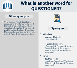 Questioned, synonym Questioned, another word for Questioned, words like Questioned, thesaurus Questioned