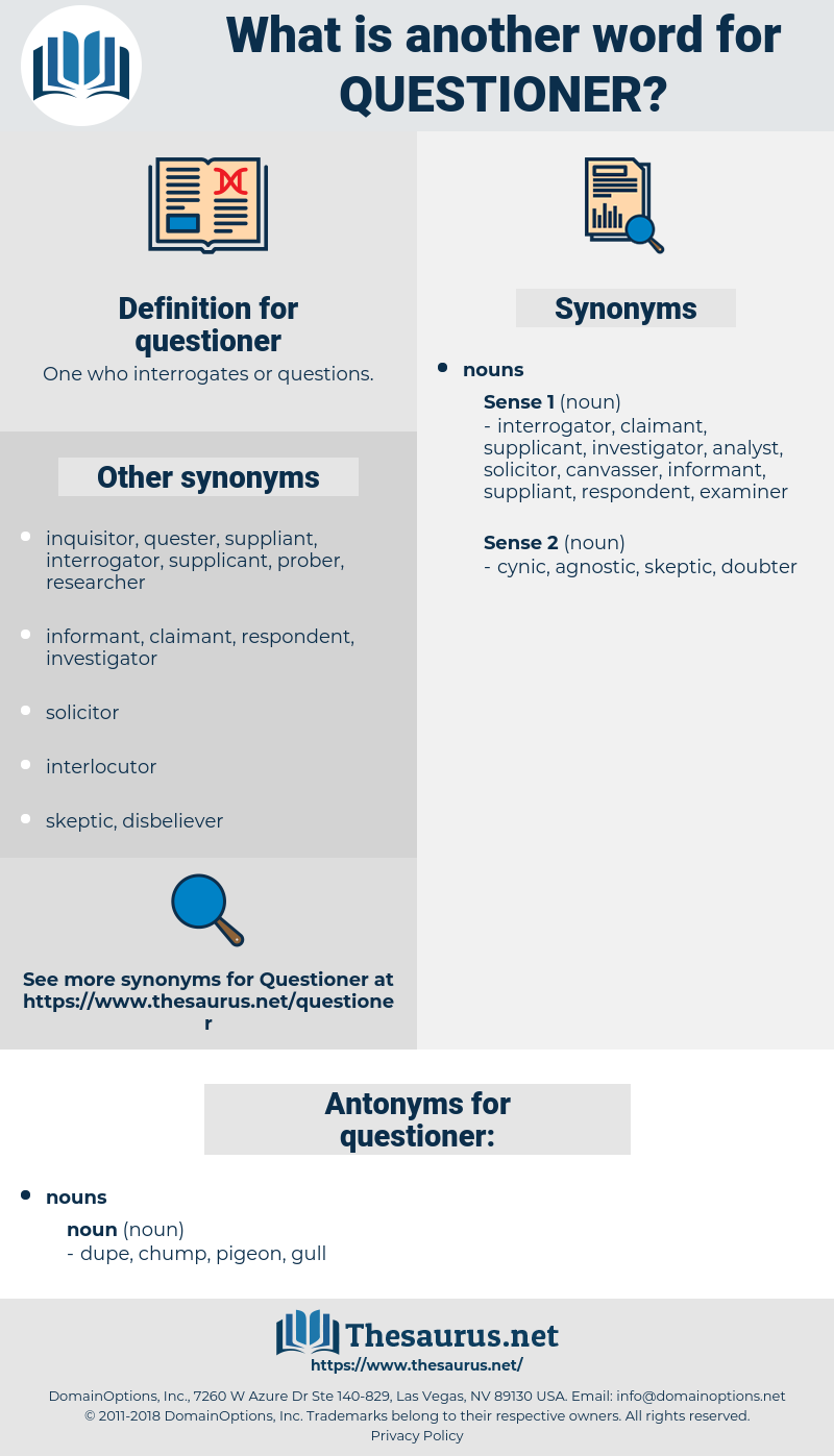 questioner, synonym questioner, another word for questioner, words like questioner, thesaurus questioner