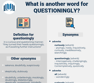 questioningly, synonym questioningly, another word for questioningly, words like questioningly, thesaurus questioningly