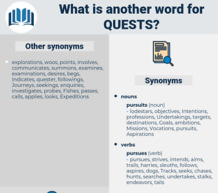 quests, synonym quests, another word for quests, words like quests, thesaurus quests