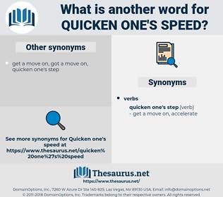 quicken one's speed, synonym quicken one's speed, another word for quicken one's speed, words like quicken one's speed, thesaurus quicken one's speed