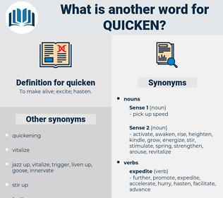quicken, synonym quicken, another word for quicken, words like quicken, thesaurus quicken
