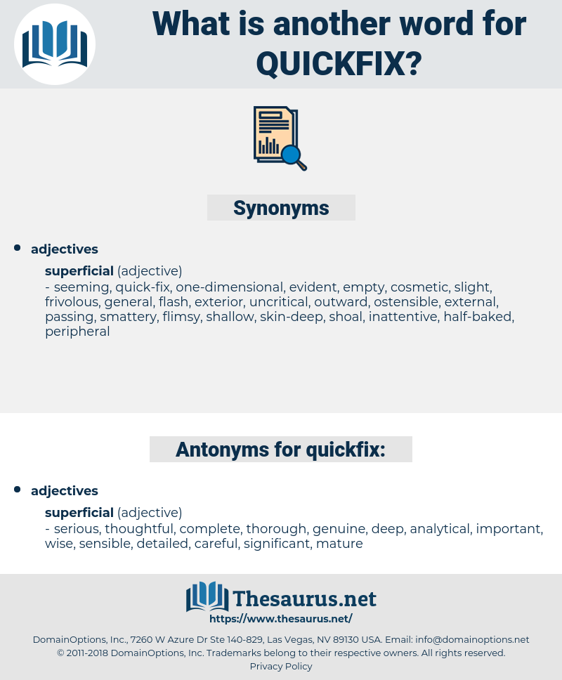 quickfix, synonym quickfix, another word for quickfix, words like quickfix, thesaurus quickfix