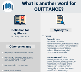 quittance, synonym quittance, another word for quittance, words like quittance, thesaurus quittance