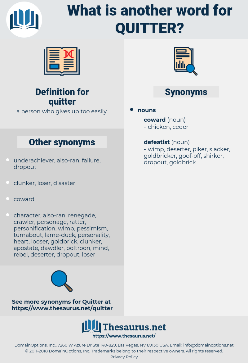 quitter, synonym quitter, another word for quitter, words like quitter, thesaurus quitter