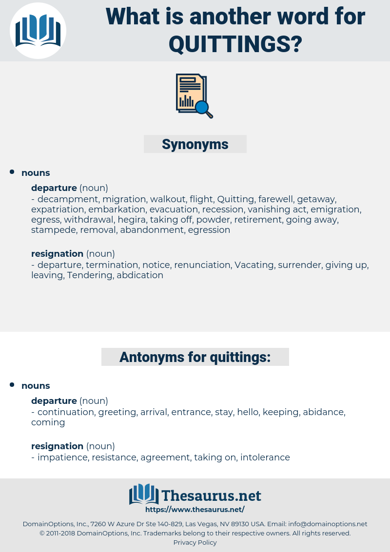 quittings, synonym quittings, another word for quittings, words like quittings, thesaurus quittings